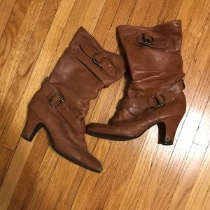 Slouchy Tan Heeled Boots